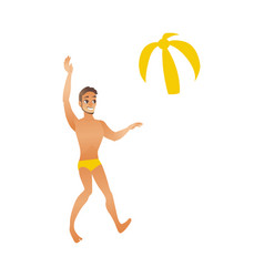 Young smiling man with suntan in swimwear plays vector