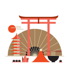 asia design elements collection welcome to japan vector image vector image