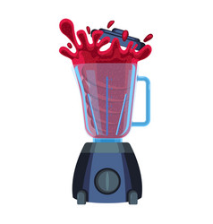 blender with red splashes of cherry or strawberry vector image