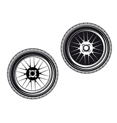 car wheels and tyres vector image vector image