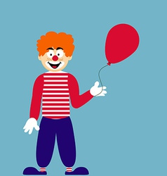 Cute Clown with Red Balloon vector image vector image