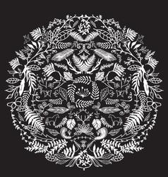 Decorative Floral Circle black vector image