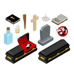Dracula in coffin Vampire Count in black casket vector image vector image