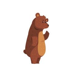 friendly smiling bear waving his paw funny vector image vector image