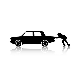 Silhouette of man pushing a car vector image vector image