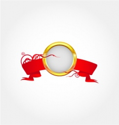 gold frame with red ribbon vector image
