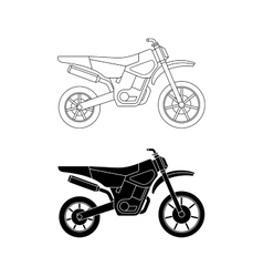 Motorcycle line icons vector image