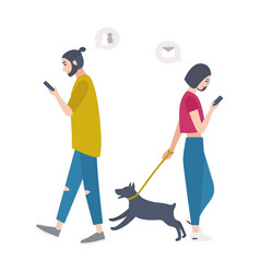 young woman walking dog on leash and man passing vector image vector image