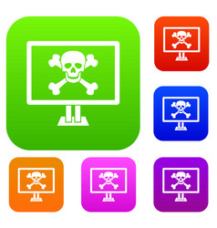 Computer monitor with a skull and bones set vector