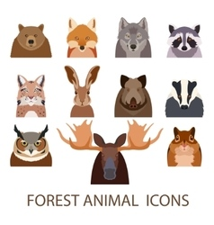 Forest animal flat icons vector image vector image
