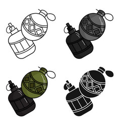 Paintball hand grenade icon in cartoon style vector