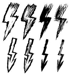 set of black sketchy lightning vector image vector image