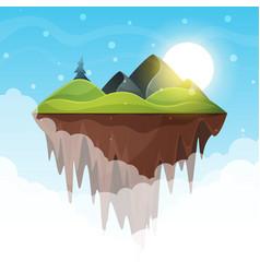 island cartoon mountain and sun vector image