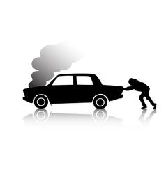 Silhouette of man pushing a broken car vector image vector image