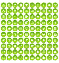 100 villa icons set green circle vector