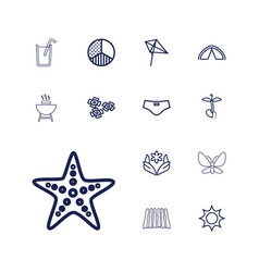 13 summer icons vector