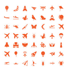 49 fly icons vector image
