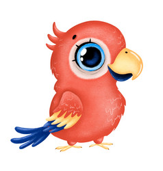 A cute cartoon red macaw parrot with big eyes vector