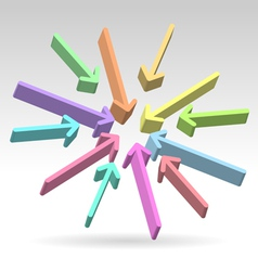 Abstract centered colorful arrows vector image
