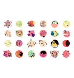 abstract shapes hand drawn set vector image