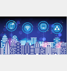 abstract technology innovation smart city connect vector image