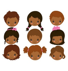 African American Kids Faces vector