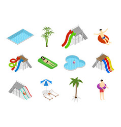 Aqua park element set isometric view vector