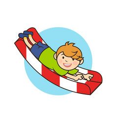 Boy kid character on a childrens slide vector