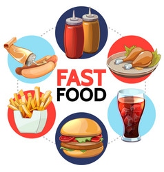 Cartoon fast food round concept vector