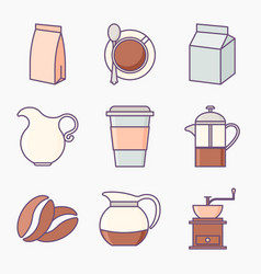 Collection of coffee icons vector