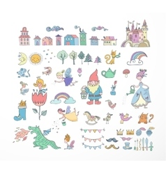 Collection of fairy tales hand drawn doodles vector