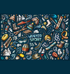 colorful winter sports objects and symbols vector image