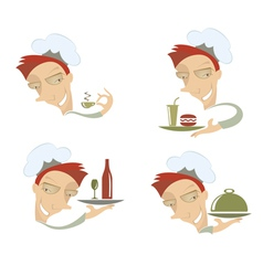 comic cook and food vector image