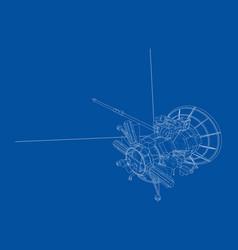 Communication satellite concept outline vector