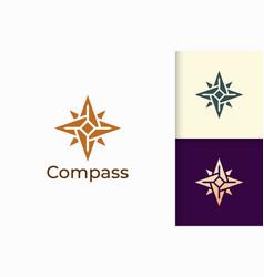 Compass logo in modern shape represent adventure vector