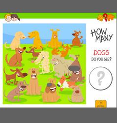 Count cartoon dogs game worksheet vector