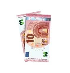 Couple of 10 euro banknotes on white vector