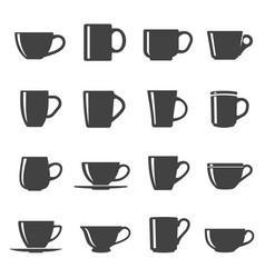 Cups black and white glyph icons set vector