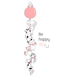 Cute baby animals with balloon cartoon hand drawn vector