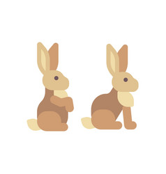 Cute brown rabbit sitting flat icon vector