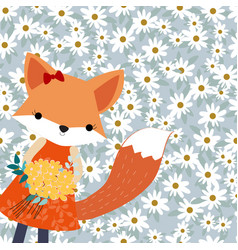 cute cartoon baby fox whte in spring flower garden vector image
