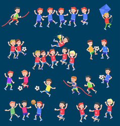 cute character child playing football vector image