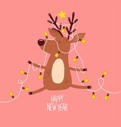 cute deer in christmas tree garland vector image