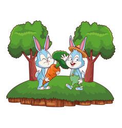 Cute easter bunny happy friends waving hello vector