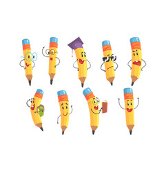 cute humanized pencil character with arms and face vector image