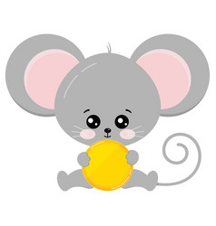 Cute mouse sit with golden coin in paws vector