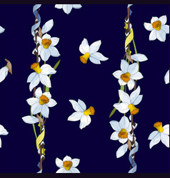 daffodils on a dark blue background seamless vector image