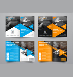 Design a bi-fold brochure with triangular colored vector