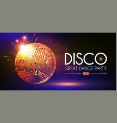 disco party flyer templatr with mirror ball fog vector image