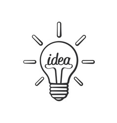 doodle light bulb with word idea and shine vector image